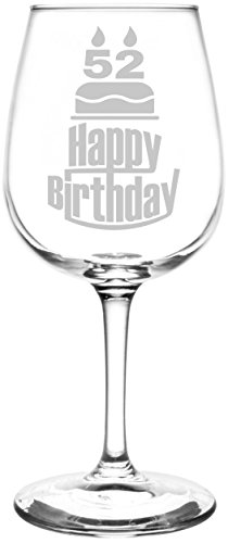 (52nd) Three Tier Happy Birthday Cake Inspired - Laser Engraved 12.75oz Libbey All-Purpose Wine Taster Glass