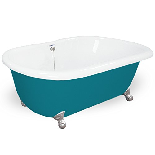 good American Bath Factory T080A-SN-P & DM-7 Celine 70 in. Splash Of Color Acrastone Tub & Drain44; Satin Nickel Metal Finish44; Small