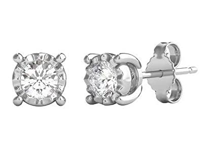 Helzberg Diamonds 10K White Gold 1 2 cttw Round Brilliant-Cut Diamond I-J Color, I3 Clarity Illusion Stud Earrings