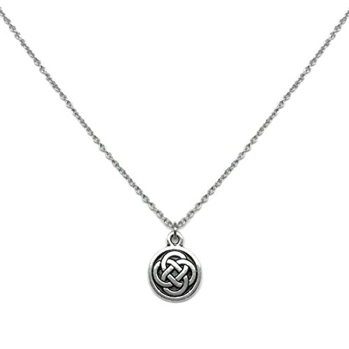 Celtic Knot Charm Necklace Stainless Steel Chain (18 (Pewter Religious Charms)