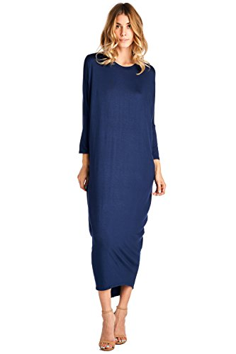 12 Ami Solid Long Sleeve Cover-Up Maxi Dress Navy X-Large
