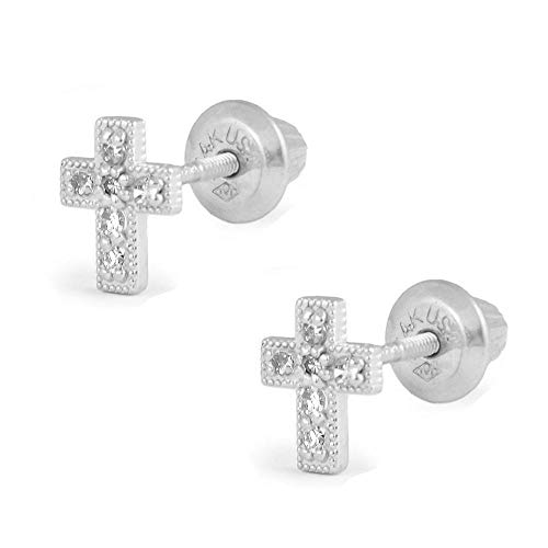 - Girls Jewelry - 14K White Gold Diamond Cross Screw Back Stud Earrings
