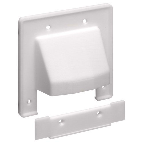 Arlington Reversible 2-Piece Low-Voltage Cable Access Plate, 2-Gang, White