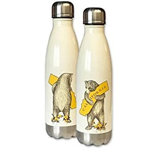 SF Mercantile I Love California Bear Hug Stainless Steel Water Bottle Set of Two- Antique White and Brown