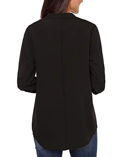 Blouse Taille Noir Epaule Soie Longue Dnude Automne Femme Tunique Et en V XXL Manche Chic Grande Mousseline Fluide Chemisier Toobeauty de Col S BHqw88