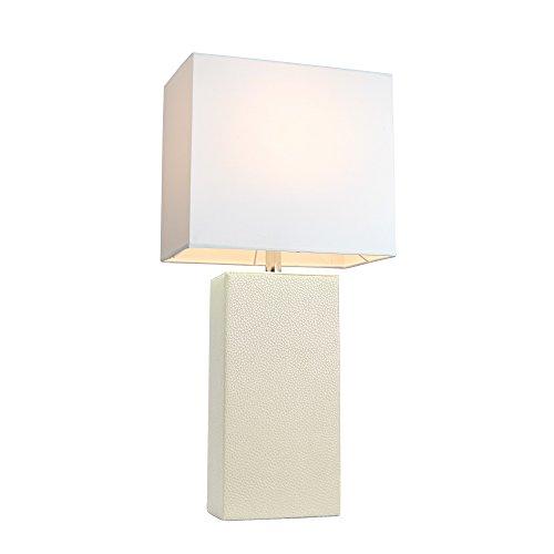 White table lamps amazon elegant designs lt1025 wht modern genuine leather table lamp white aloadofball Gallery