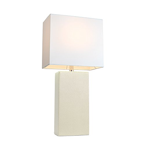 Modern White Leather Table Lamp