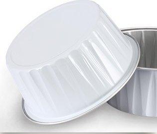 KEISEN 3 2/5'' mini Disposable Aluminum Foil Cups 125ml 100/PK 4OZ for Muffin Cupcake Baking Bake Utility Ramekin Cup (WHITE) by Keisen