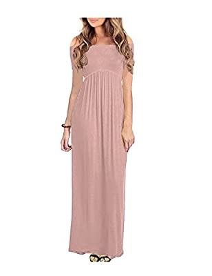 Women's Summer Solid Plus Off Shoulder Maxi Casual Ruffle Party Dresses