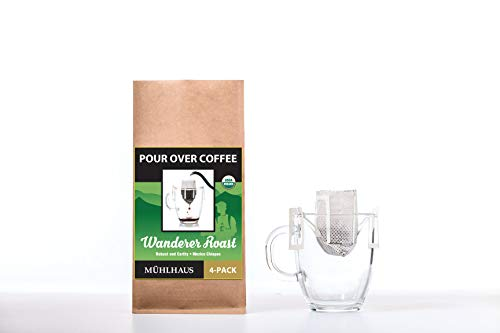 POUR OVER COFFEE, Wanderer Roast (Robust and Earthy, Mexico Chiapas), Worlds Most Advanced Portable Organic Coffee (4 Pack)