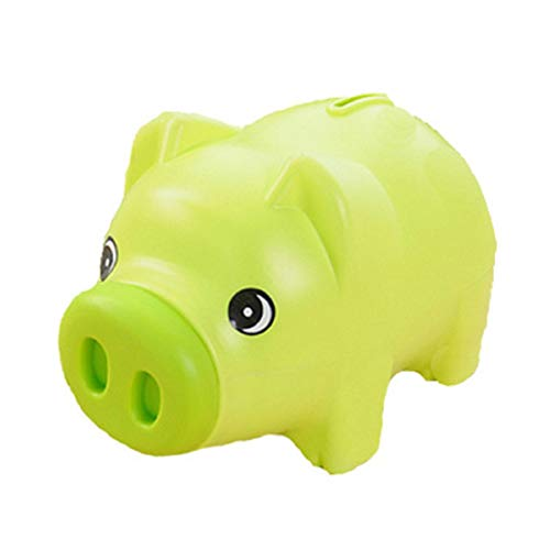 Plastic Cute Unisex Piggy Bank Coin Saving Pot Cash Collectible Saving Box Pig Toys for Toddler, Kids, Girls, Boys, Adults, Favorite Unique Gift Idea(Green) -