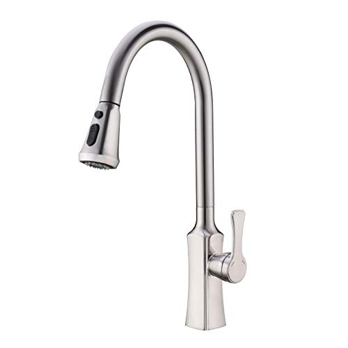 BZOOSIU Single-Lever Pull Out Brushed Nickel Commercial Kitchen Faucet with Pull Down 2-Function Stainless Steel Spray Head Arc Spout