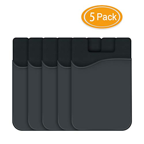 Cell Phone Credit Card Holder, HUO ZAO Silicone Phone Wallet with Adhesive Stick-on fits Apple iPhone iPad Samsung Galaxy Android Smartphones Table Refrigerator Door (Black Color - 5P) (Credit Card Ipad)