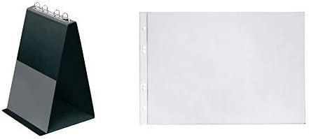 Veloflex 4102080 Tisch Flipchart A4, Präsentation, Flipchart, Aufstellringbuch, aus PVC, Hochformat, schwarz & 4340300 Prospekthüllen A4 quer, 10