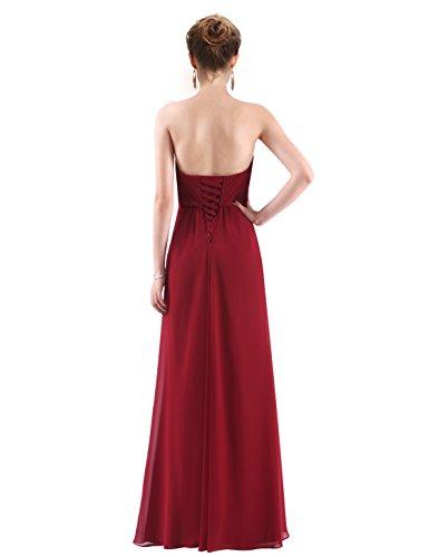 Trägerlos Abendpartykleid Pretty Ever Burgund Damen Lang Elegant 08864 qtSqAwRx