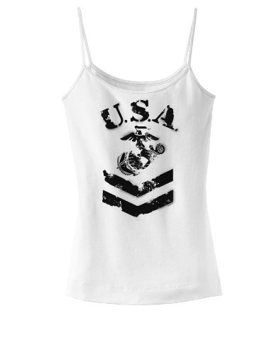 (TooLoud USA Military Marine Corps Stencil Logo Spaghetti Strap Tank - White - XL)