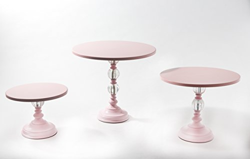 - Opulent Treasures Pink Cake Stands, Set of 3, Pedestal Base with Decorative Clear Glass Ball / Birthday, Baby Shower, Bridal Shower Dessert Trays Serving Sets