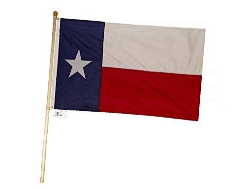 MWS 5 Foot Wooden Flag Pole Kit Wall Mount Bracket with 3x5 Texas State House Flag ()