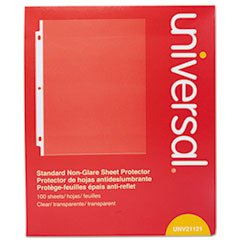 Universal Office Products 21121 Standard Sheet Protector, Standard, 8 1/2 X 11, Clear, 100/box