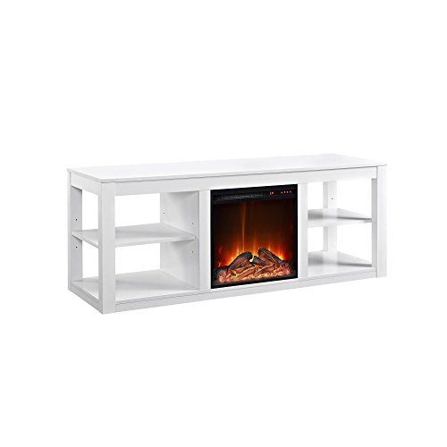 "Ameriwood Home Parsons Electric Fireplace for TVs up to 65"" Wide, White"