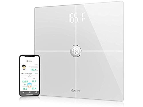 Rollifit Premium Digital Smart Scale - Body Fat Scale with Fitness APP & Body Composition Monitor - Works with Android/iOS/iPhone 8/iPhone X(10) (White)
