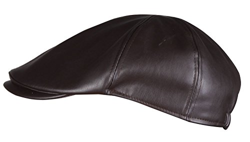 Driving Cap Leather (WDSKY PU Brown Leather Newsboy Cap Ivy Hats for Men Brown Brown Fat Cap Brown)
