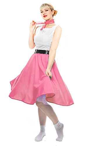 [Pink Circle Skirt & Sheer Scarf Set COMBO - 50s Sock Hop Swing Dance Retro Costume (XXL)] (1940s Dance Costumes)