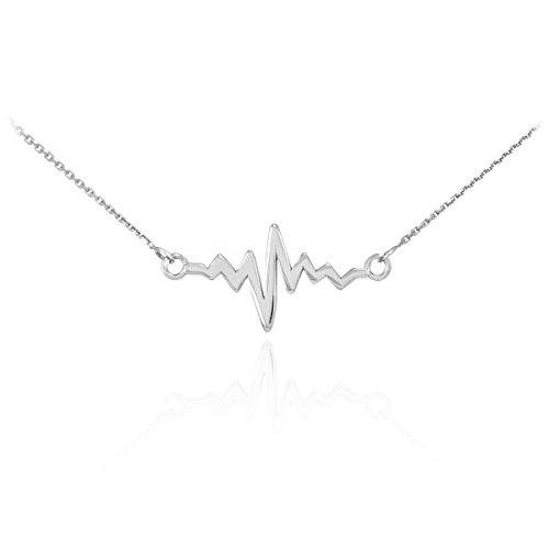 925 Sterling Silver Lifeline Pulse Pendant Heartbeat Necklace, 20