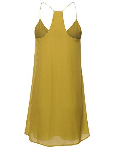 Soleil Courroie De Spaghetti V-cou Classique Femmes Awesome21 Slip Mini Robe Moutarde Awdsd0606