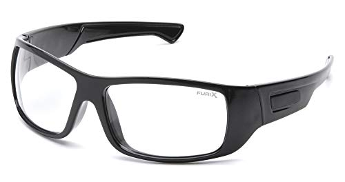 Pyramex Furix Safety Glasses, Black Frame/Clear Anti-Fog