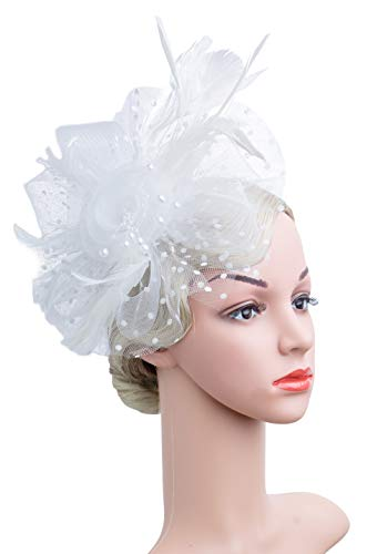 Cizoe Flower Cocktail Tea Party Headwear Feather Fascinators Top Hat for Girls and Women(1-A-White) -
