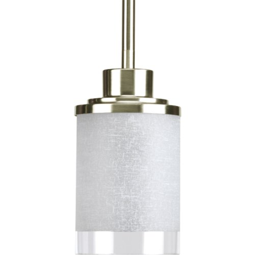Progress Lighting P5147-09 1-Light Mini-Pendant with White Linen Finished Glass Is Complemented with a Clear Edge Accent Strip, Brushed Nickel - Brushed Nickel 100w Stem