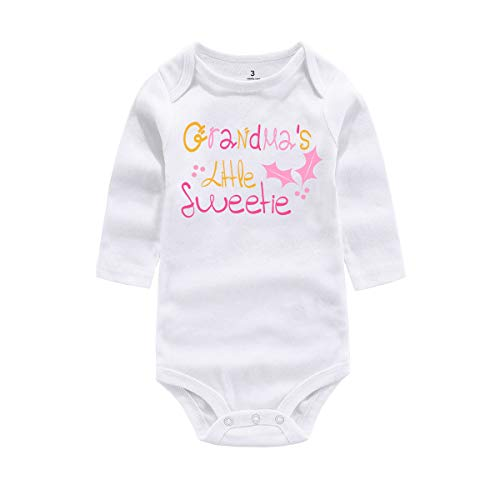WINZIK Baby Infant Girl Bodysuit Outfit Grandma's Little Sweetie One-Piece Romper Jumpsuit T-Shirt Clothing (Tag 6M, White-Long Sleeve) (Marks And Spencer T-shirt)