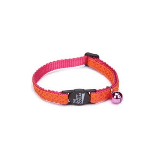 Savvy Tabby Nylon with Ribbon Cat Collar, 3/8-Inch, Purple Dot