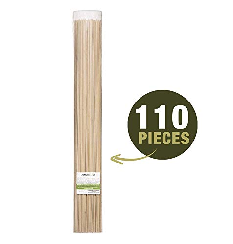 Jungle Stix Marshmallow S'Mores Roasting Sticks 36 Inch 5mm Thick Extra Long Heavy Duty Wooden Skewers, 110 Pieces. Perfect for Hot Dog Kebab Sausage, Environmentally Safe 100% Biodegradable