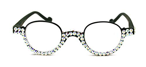 - The Bellagio, Round Women Reading Glasses With FULL TOP AB Swarovski Crystals +1.50, 2.00, 2.50, 3.00 Circle style, Black