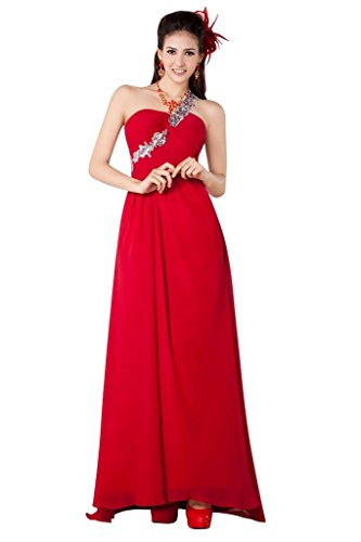 Chiffon Ein GEORGE elegante BRIDE Rot Straps mit Abendkleid rote Perlen Schulter xqn7OXS