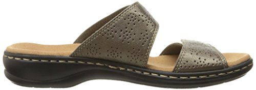 Clarks Womens Leisa Lacole Slide Sandal, Pewter Metallic Leather, 6.5 W US
