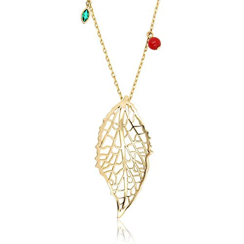 BOUTIQUELOVIN Gold Long Hollow Filigree Leaf Pendant Necklaces Fashion Jewelry for Women Girls, 30 Inches