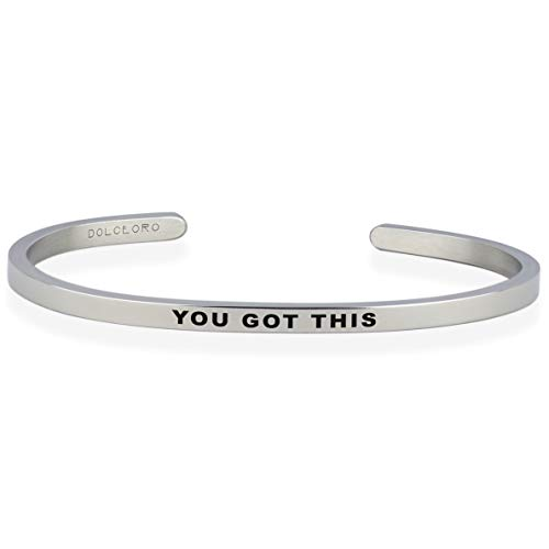 Dolceoro You GOT This - Inspirational Mantra Cuff Band Bracelet Jewelry, 3mm Wide Shiny 316L Surgical Stainless Steel