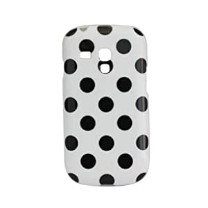 Comemall Polka Dots TPU Gel Rubber Cover Skin Case for Samsung Galaxy S3 Mini I8190 (White+Black Dots)