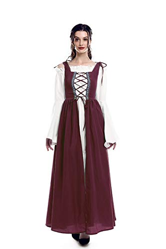 ROLECOS Irish Renaissance Costume Womens Medieval Over Dress and Chemise Boho Set Wine Red XXL/3XL]()