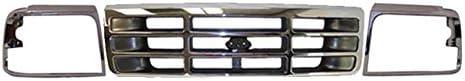 BUNDLE 92-96 FORD F150 F250 BRONCO GRILLE HEADLIGHT DOOR CHROME 3 PCS