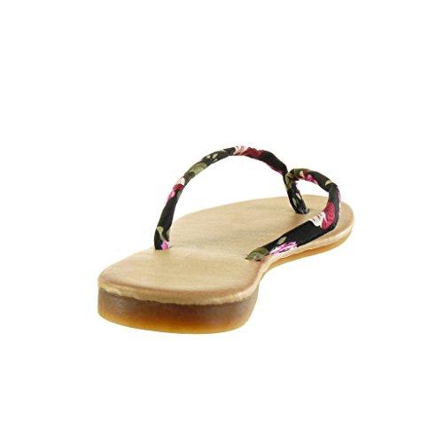 Sandalen damen CM Angkorly Flops Blockabsatz 5 Flip Schuhe Schwarz 1 Blumen xgqawUa