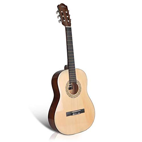 Pyle Beginner 30″ Classical Acoustic 6 String Junior Linden Wood Traditional Guitar w/Wooden Fretboard Case Bag, Strap, Tuner, Nylon, Picks, Children PGACLS30