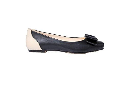 Damen PU Quadratisch Zehe Ohne Absatz Ziehen auf Rein Pumps Schuhe, Schwarz, 38 VogueZone009