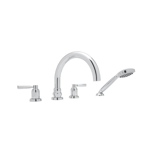 Rohl U.3975LS-APC Perrin & Rowe Transitional Four Hole Deck Mounted Tub Filler with Metal Levers Handshower and J Spout, Polished Chrome by Rohl