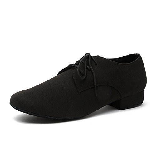 Minishion Men's Fashion Standard Lace-up Black Suede Latin Medorn Ballroom Dance Shoes US 10.5 by Minishion