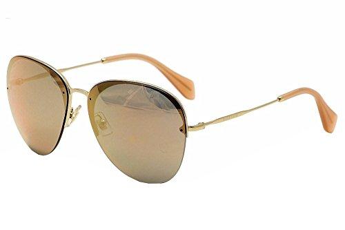 Miu Miu Women's Mirrored Aviator Sunglasses, Pale Gold/Rose Gold, One - Miu Sunglasses Miu Aviator