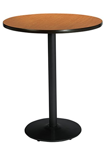 KFI Seating Bistro Height Round Black Base Pedestal Table with Top, Medium Oak, ()